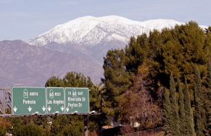 View of the Mountains from above the 71 freeway in Chino Hills, CA.