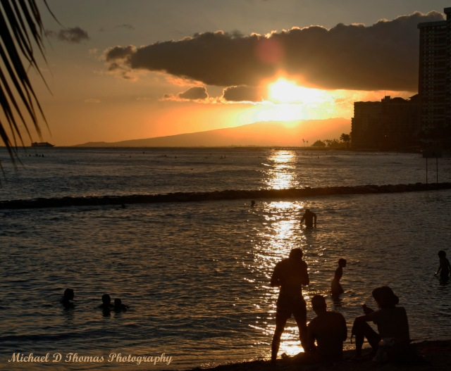 Sunset on Waikiki Beach in Hawaii