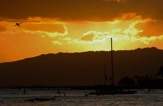 Sunset on Waikiki Beach in Hawaii